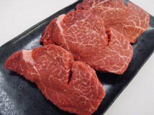 ふるさと納税の特国産(交雑牛)ヒレステーキ(約100g×3枚)